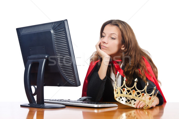 Superwoman worker with crown working in office Stock photo © Elnur