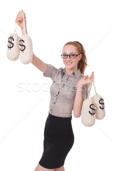 Сток-фото: молодые · деловая · женщина · деньги · белый · бизнеса · служба