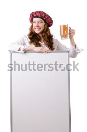 Jonge vrouw Rood kostuum witte meisje Stockfoto © Elnur