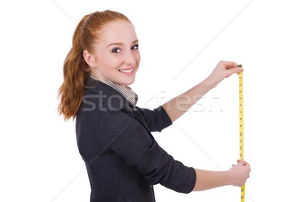 Jovem alfaiate isolado branco mulher trabalhar Foto stock © Elnur