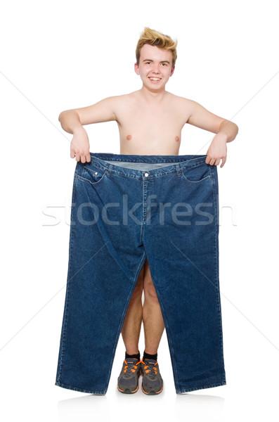 смешные человека брюки изолированный белый здоровья Сток-фото © Elnur