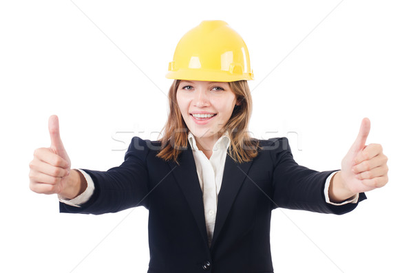 Pretty businesswoman with hard hat thumbing up   isolated on whi Сток-фото © Elnur