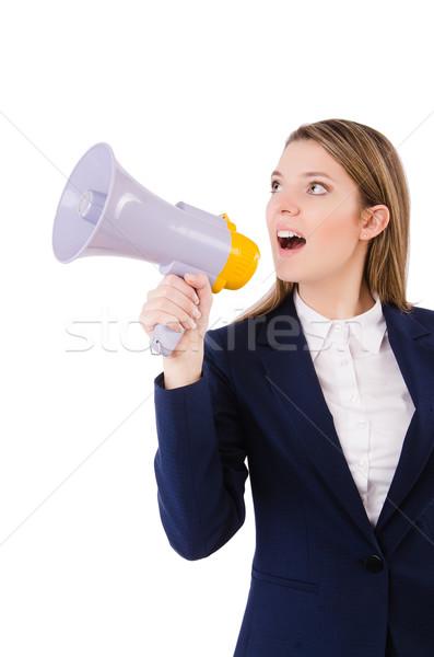 Woman with loudspeaker on white Stock photo © Elnur