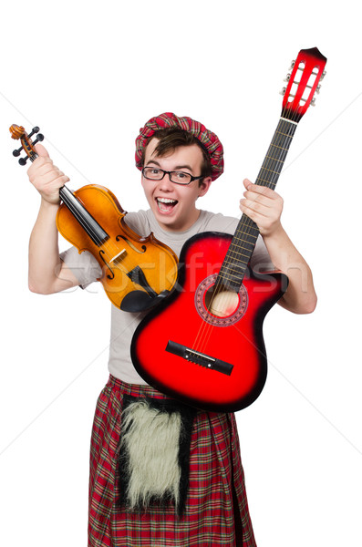 Funny scotsman with musical instrument isolated on white Stock photo © Elnur