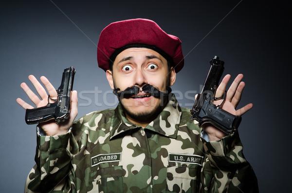 Komik asker karanlık arka plan güvenlik tabanca Stok fotoğraf © Elnur