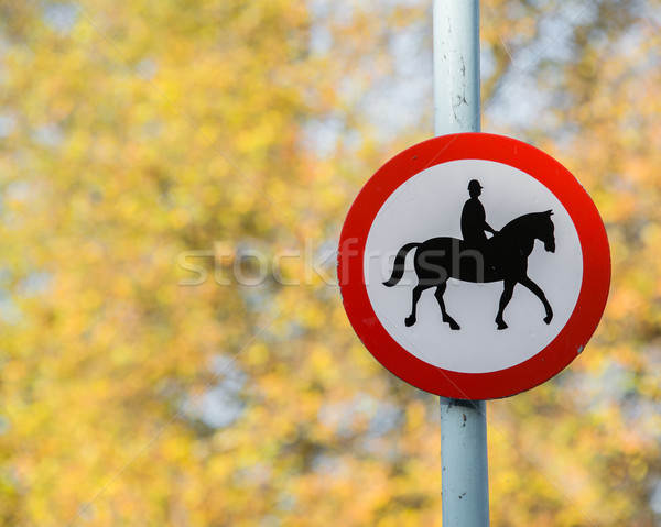 Road sign with horse patrol icon Stock photo © Elnur