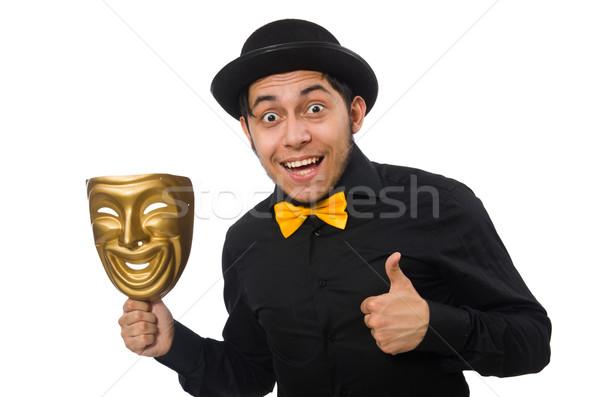 Fiatalember arany velencei maszk izolált fehér boldog Stock fotó © Elnur