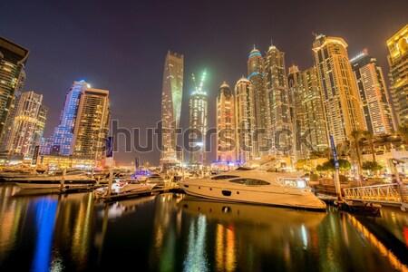 Stock fotó: Dubai · marina · felhőkarcolók · éjszaka · iroda · épület
