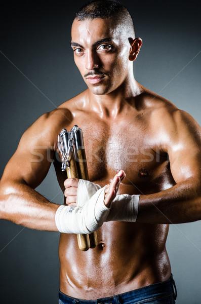 Férfi sötét meztelen sport háttér művészet Stock fotó © Elnur