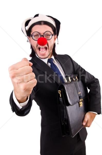 Engraçado palhaço empresário isolado branco negócio Foto stock © Elnur