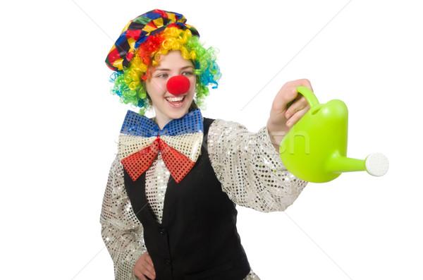 Stockfoto: Vrouwelijke · clown · gieter · geïsoleerd · witte · meisje
