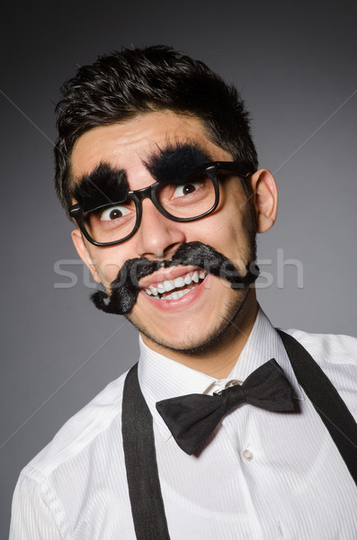 Moço falso bigode isolado cinza homem Foto stock © Elnur