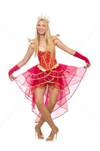 Królowej czerwona sukienka odizolowany biały kobieta dance Zdjęcia stock © Elnur