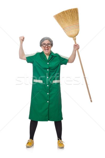 Vrouw borstel geïsoleerd witte man werk Stockfoto © Elnur