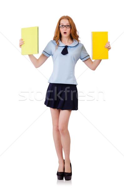 Fiatal szorgalmas diák tankönyvek izolált fehér Stock fotó © Elnur