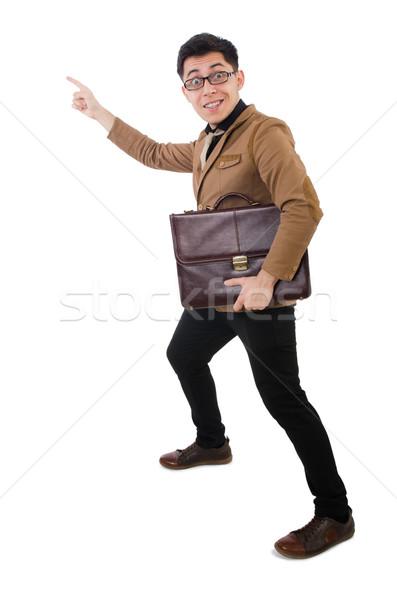 Młody człowiek brązowy teczki odizolowany biały włosy Zdjęcia stock © Elnur