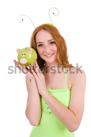 Pretty red hair fairy in green dress holding piggybank isolated  Stock photo © Elnur