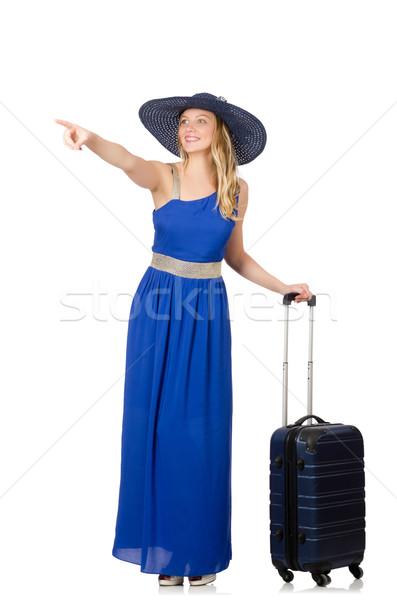 Blu abito valigia isolato bianco Foto d'archivio © Elnur