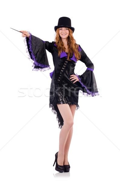 Bastante nina púrpura carnaval ropa sombrero Foto stock © Elnur