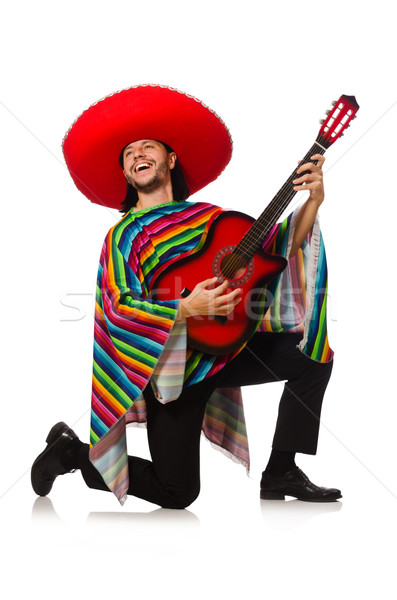 Mexican in vivid poncho holding guitar isolated on white Stock photo © Elnur