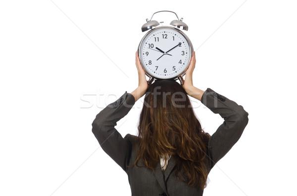Kobieta interesu zegar brakujący terminy kobieta biznesmen Zdjęcia stock © Elnur