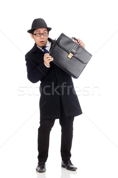 Fiatalember tart bőrönd izolált fehér férfi Stock fotó © Elnur