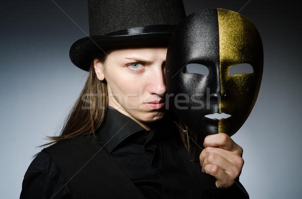 Kobieta maska funny sztuki teatr pracownika Zdjęcia stock © Elnur
