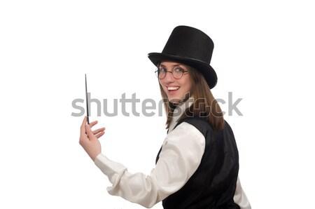 Fiatalember fekete klasszikus mellény kalap izolált Stock fotó © Elnur