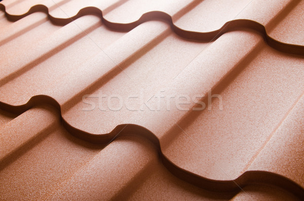 Stock photo: Close up of metal roof tile