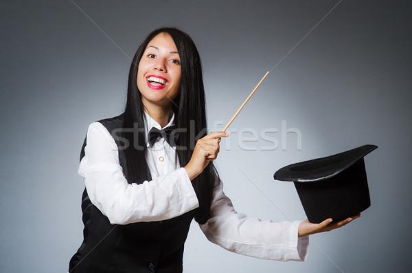 Nő bűvész vicces lány retro kalap Stock fotó © Elnur