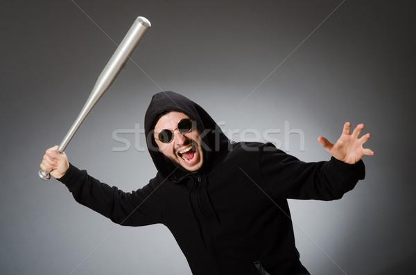 Agresif adam bat yüz arka plan gözlük Stok fotoğraf © Elnur