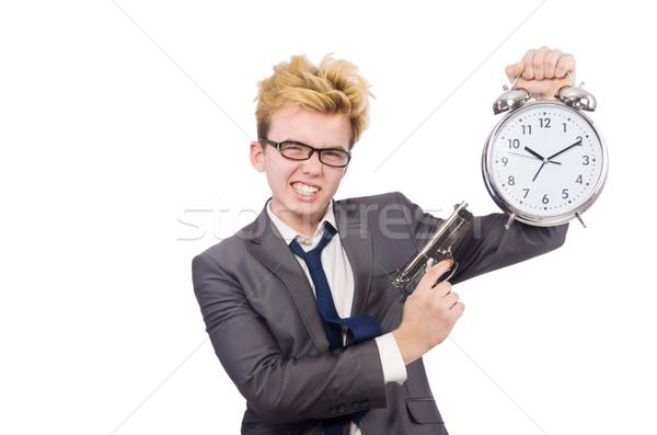 Foto stock: Jovem · empresário · pistola · despertador · isolado · branco
