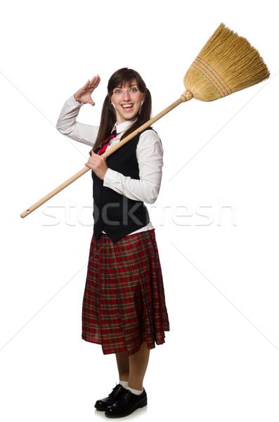 смешные девушки метлой изолированный белый женщину Сток-фото © Elnur