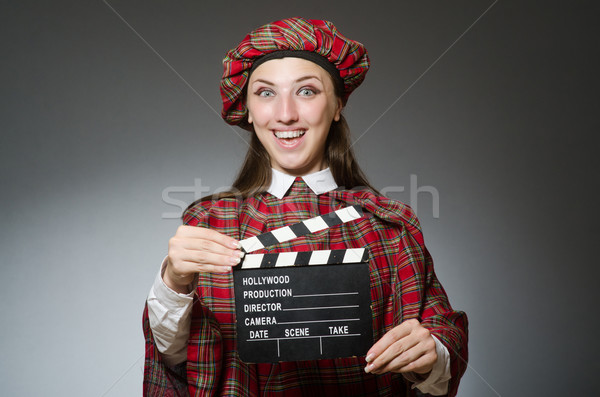 Woman in scottish clothing in movie concept Stock photo © Elnur