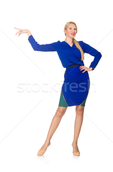 Blond woman in bright navy dress isoalted on white Stock photo © Elnur