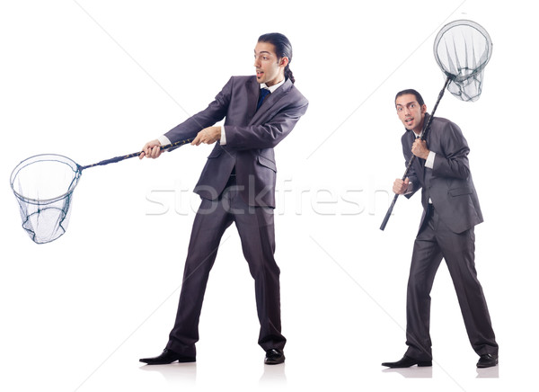 Colage of businessman with catching net on white Stock photo © Elnur