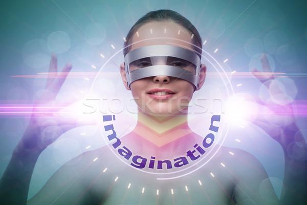 Futuristic concept with techno cyber woman  Stock photo © Elnur