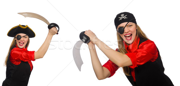 Woman pirate in various concepts on white Stock photo © Elnur