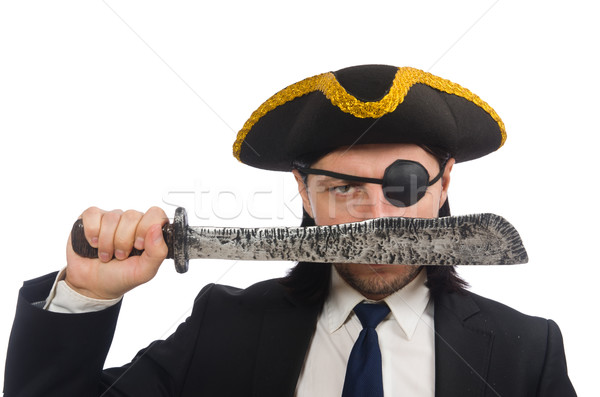 Pirate businessman with sabre isolated on white Stock photo © Elnur
