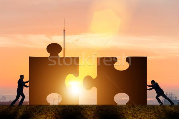ビジネス チームワーク ジグソーパズル 建物 男 抽象的な ストックフォト © Elnur