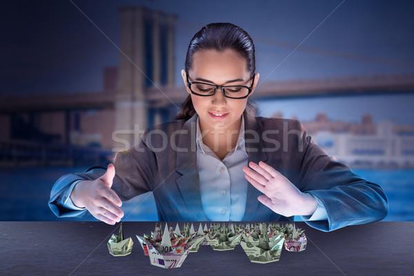 女性実業家 ドル ボート ビジネス 女性 水 ストックフォト © Elnur