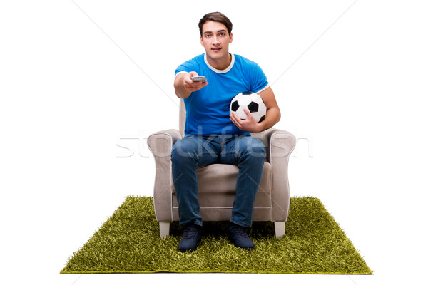 The man watching football isolated on white Stock photo © Elnur