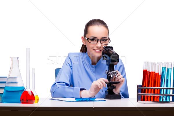 лаборатория химик рабочих микроскоп Трубы врач Сток-фото © Elnur