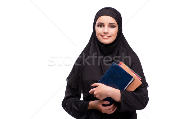 Muslim woman in black dress isolated on white Stock photo © Elnur