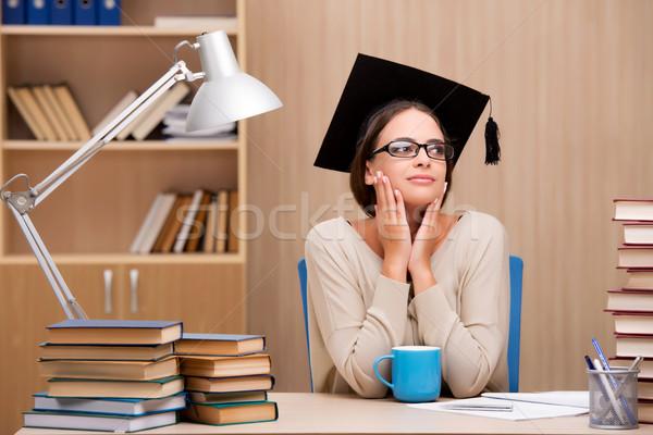 Giovani studente Università esami ragazza caffè Foto d'archivio © Elnur