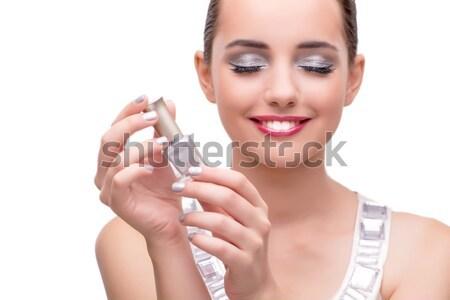 Nő üveg parfüm izolált fehér kezek Stock fotó © Elnur