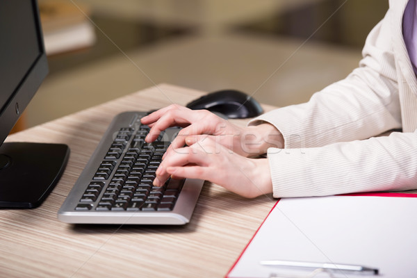 The hands working on the keyboard in the office Stock photo © Elnur