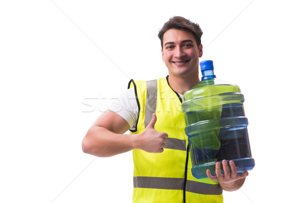 The man delivering water bottle isolated on white 商業照片 © Elnur