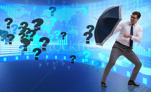 不確実性 ビジネスマン 疑問符 にログイン ワーカー 仕事 ストックフォト © Elnur