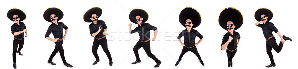 The funny man wearing mexican sombrero hat isolated on white Stock photo © Elnur